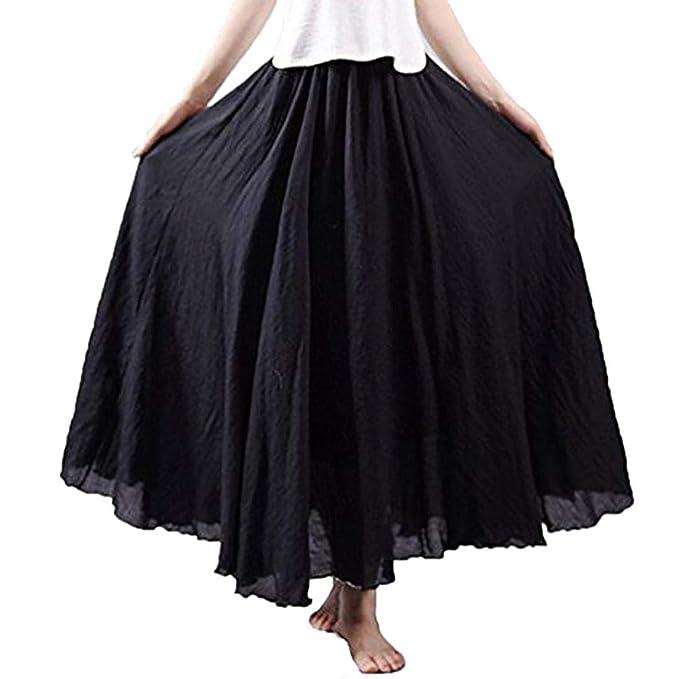 NREALY Falda Womens 3/4 Bohemian Style Elastic Waist Band Cotton Linen Long Maxi Dress Skirt