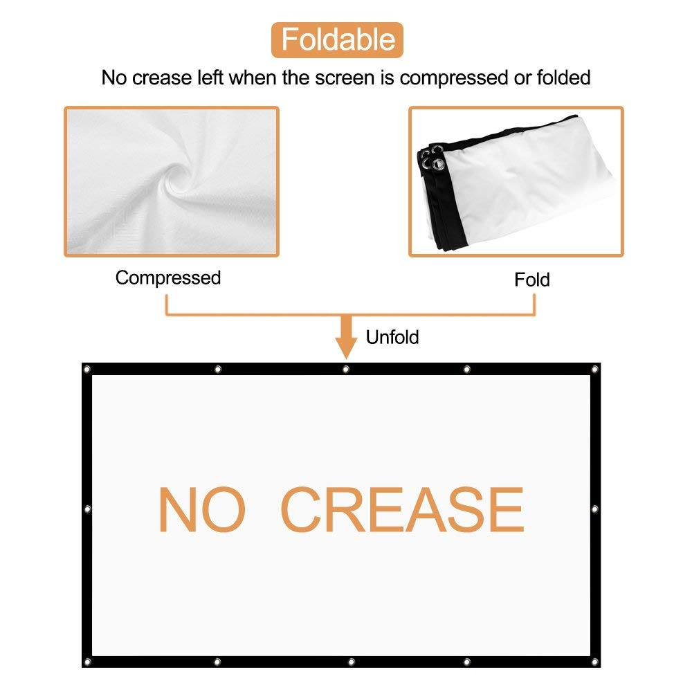 OWILLZ Projector Screen 16:9 HD Foldable for Home Theater Cinema Indoor Outdoor 120in