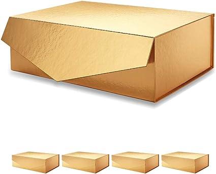 PACKHOME Caja de regalo grande, rectangular, 35,5x24x11,5cm, caja de regalo para dama de honor, caja de almacenamiento robusta, caja de regalo plegable con cierre magnético(oro brillante,5 cajas): Amazon.es: Hogar