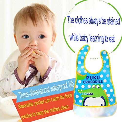 ZEAMO Baby Bibs Waterproof Feeding Bib Foldable Travel Baby Bibs with Wide Catcher Pocket 4 Pack (Colorful)