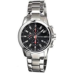 Timeforce Avalanche Mens Watch, Black Dial, Stainless Steel Band TF7004