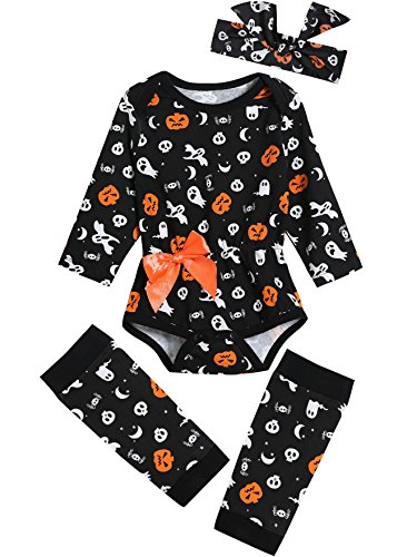 Baby Girls' 3PCS Outfits Set Halloween Pumpkin Costume Long Sleeve Bodysuit (0-3 Months) -