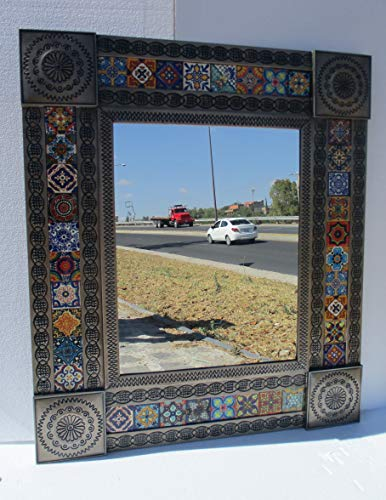 PUNCHED TIN MIRROR mexican talavera tile, southwestern hacienda style, folk - Mexican Style Bathroom Mirrors
