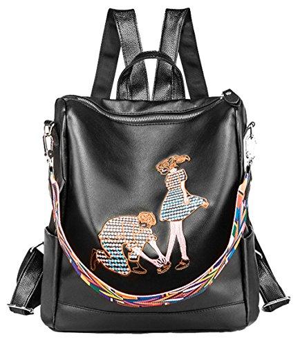 by for HopeEye Soft Women Black Cute Pu Backpack Shoulder Leather Style02 Tote Ladies Girls Bags SKSHPca4y