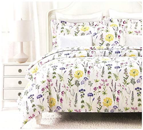 (Nicole Miller Modern Farmhouse Bedding French Countryside Floral Toile Print Pure Cotton Duvet Quilt Cover Set Colorful Garden Wildflower Watercolor Illustration Vintage Flower (King, Multicolor))