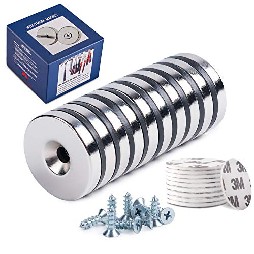 "um Disc Countersunk Hole Magnets 10-Pack, 10 X Screws & 10 X Double-Sided Adhesives | Permanent Rare Earth Magnets | 1.26""D x 0.2""H 