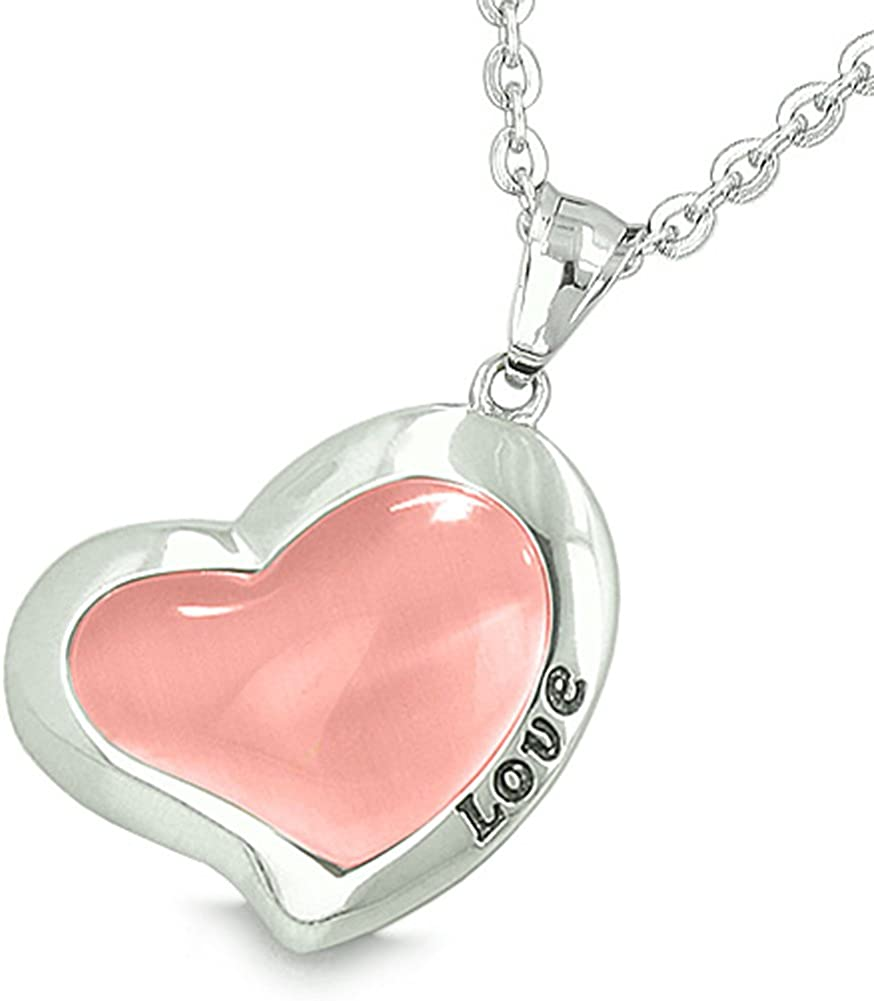 Yin Yang Love Forever Lucky Bean Heart Eternity Amulets Simulated Onyx Pink Simulated Cats Eye Necklaces