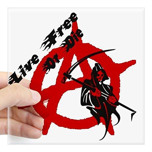 Cafepress   Grim Reaper   Anarchy Square Sticker 3  X 3   Square Bumper Sticker Car Decal  3 X3   Small  Or 5 X5   Large
