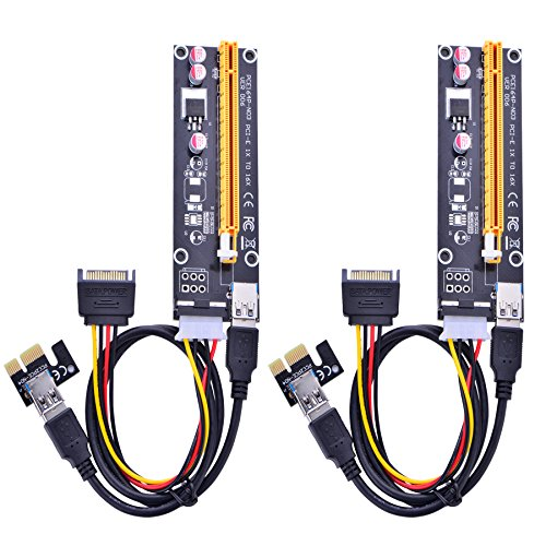 Optimal Shop PCI Express 16x to 1x Powered Riser Adapter Card w/60cm USB 3.0 Extension Cable and 4-Pin MOLEX to SATA Power Cable-GPU Riser Extender Cable-Ethereum Mining ETH (2 Pack)