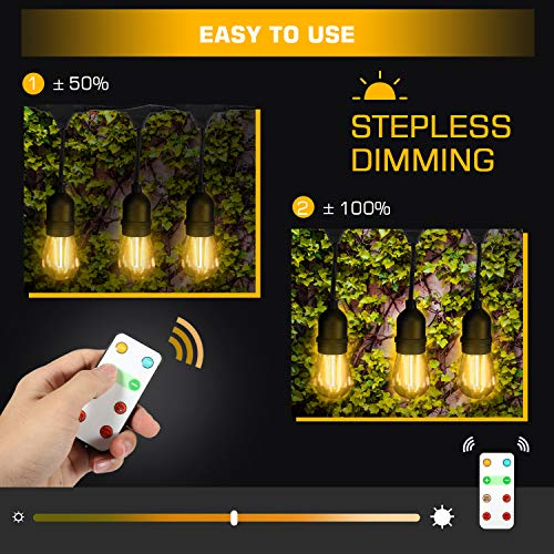 Foxdam Wireless Remote Control Dimmer,Max Power 180W,Outdoor Dimmer for The String Lights,Memory,150Ft Max Range,IP68 Waterproof, Stepless Dimming,Plug in Dimmer Switch(ONLY for LED DIMMABLE Bulb) by Foxdam (Image #3)