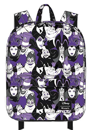 Loungefly Disney Villans Purple Evil Character All Over Print Backpack fits Laptop