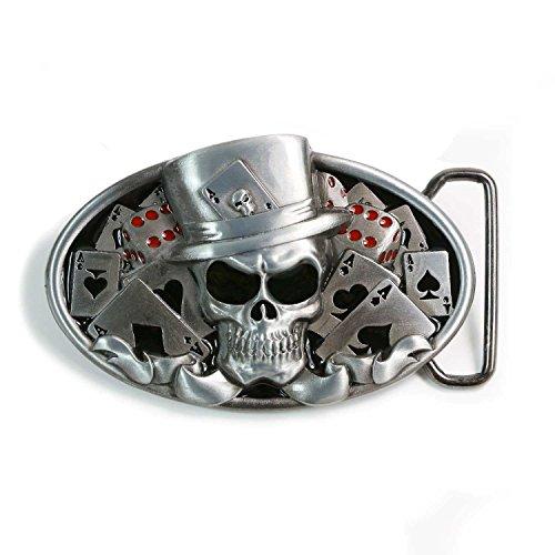 Landisun Handmade Casino Poker Skull Wearing A Hat Belt Buckle black red - Red Black Cool Belt Buckle