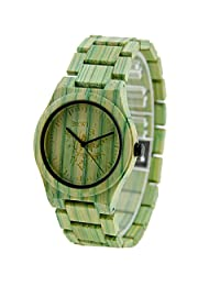 BEWELL Men Women Colorful Bamboo Wooden Wrist Watches, CEStore Hand Crafted Quartz Analog Watch with Japan Movement, Life Waterproof Unisex Watch(Band Opener Included)-Green