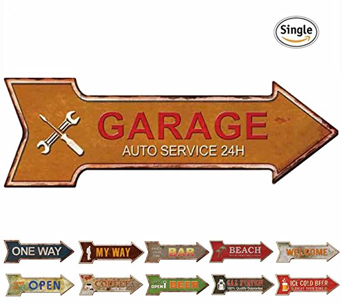 HANTAJANSS Garage Signs Arrow Retro Metal Signs for Wall Decoration (Metal Vintage Arrow)