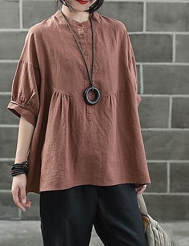 Brown OneSize Women's Going Out Shirt  Solid colord Stand