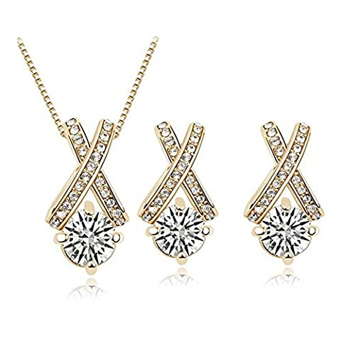 18k Gold Plated X Crossing Pendant Necklace and Stud Earrings Jewelry Set for Women Teen - Sport Turquoise Pendant