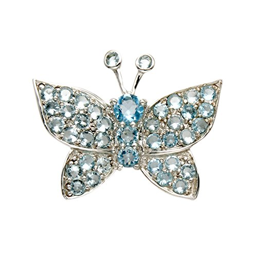 Sterling Silver Butterfly Pin w/Faceted Aqua Crystal Stones by Wild Things