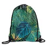 Portable Drawstring Bags Casual Daypacks Multipurpose Daypacks - Fine Leaves Tropical Leaves