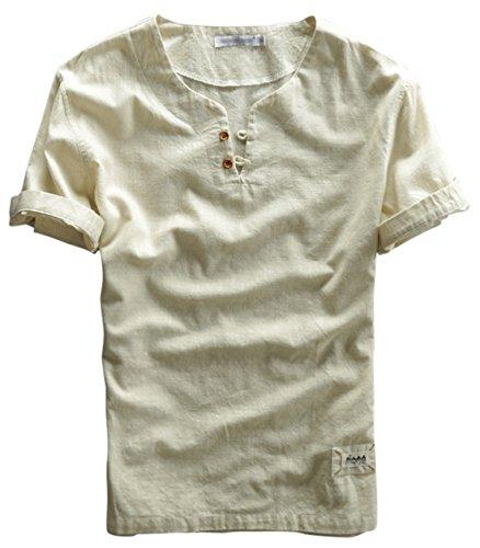 - utcoco Men's Vintage Short Sleeve Cotton-Linen Casual Henley Shirts (X-Large, Khaki)