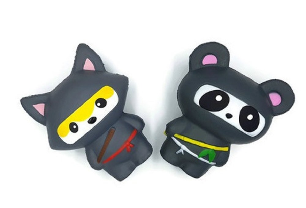 Set of 2 Jumbo Squishies Pack for Boys - Slow Rising & Scented - Ninja Fox & Ninja Panda - Stress Relief Toy by Amplus Trading