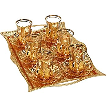 SALE (Set for 6) Turkish Tea Decorated Glasses with Brass Holders Tray Spoons,Saucers,Coasters Gold