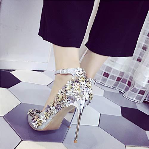 Manadlian Stiletto Chaussures Talons Argent Boucle Hauts À Simples Femmes Ete Women Pointues Shoes 2019 De Paillettes Ceinture Escarpins q88Utgw