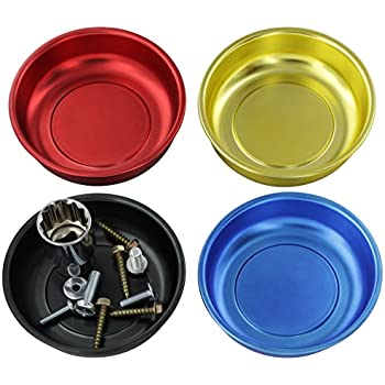 "Drixet 4"" Mini Magnetic Parts Tray, Nut and Bolt Round Bowl Set 