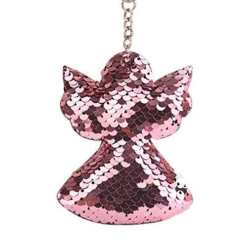 gu6uesa8n Keychain for Women Girls, Colorful Paillette Angel Pendant Key Ring Holder Bag Hanging Ornament - Pink