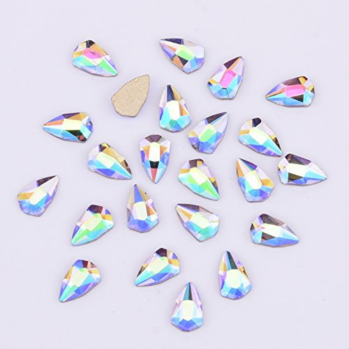 Twinkle Iridescent Flat Back Glass Gems Rhinestones For Girls Women Crafts Nails Art Accessories Tips Decoration Supply Shield Design 30pcs