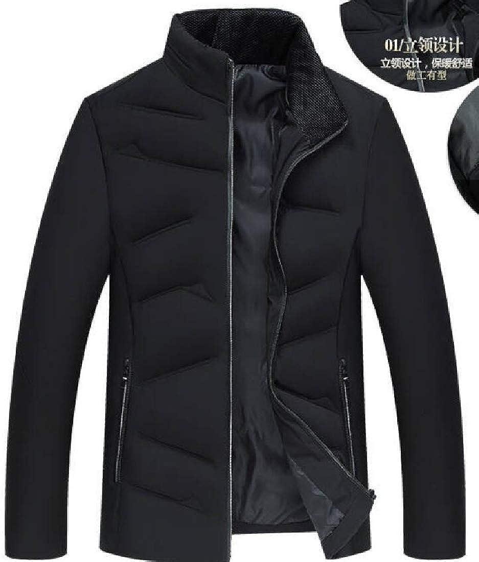 Twcx Men Stand Collar Warm Quilted Full Zipper Outdoor Down Jacket