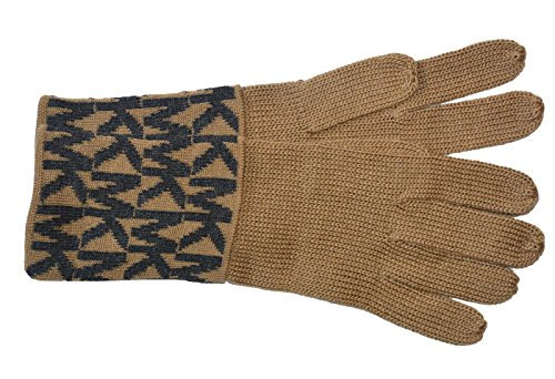 Michael Kors Womens MK Knit Gloves (One Size, Camel/Grey)