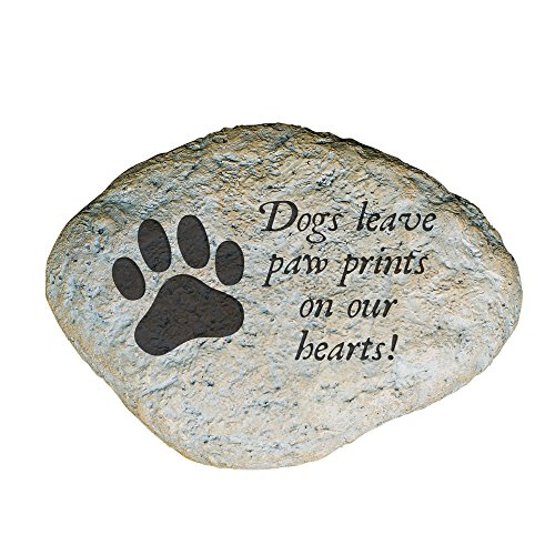 GiftsForYouNow Dogs Leave Paw Prints on Our Hearts Memorial Garden Stone (Dogs Leave Pawprints On Our Hearts Stone)