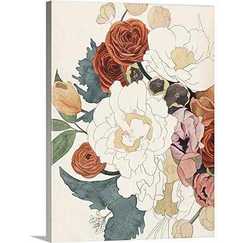 Deco Floral Print - Imperfect Bouquet I Canvas Wall Art Print, 18