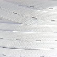 "Trimming Shop 1 Meter White 1"" Wide Button Hole Elastic Tape Stretchable And Expandable Cord With 6mm Holes For Trouser Waistbands Maternity Clothes"