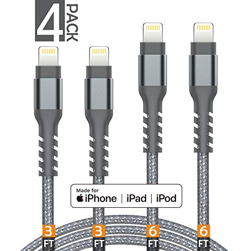 AHGEIIY iPhone Charger Cable,MFi Certified Lightning Cable- 4Pack [2x3FT 2x6FT] Nylon Braided Fast Charging Cable Compatible iPhone X, 8,7,6,6s Plus, 8, 7, 6, 6s, iPad,iPod and More - Grey (Warranty Iphone Charger With)