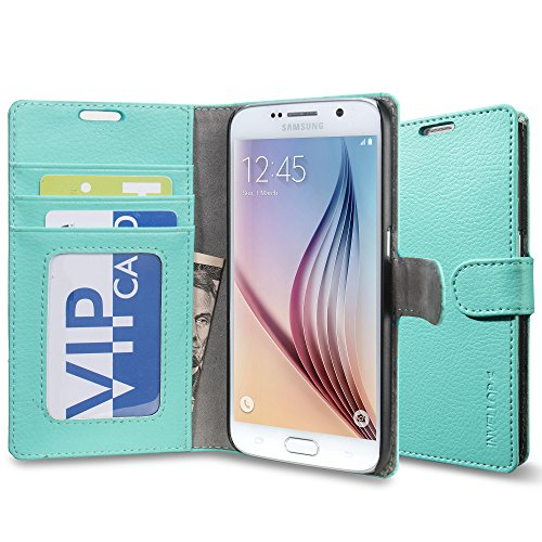 Galaxy S6 Case, INVELLOP Teal Galaxy S6 Case cover slim Leather Wallet case for Samsung Galaxy S6