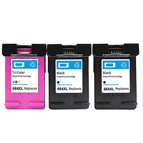 YainkMade 3 Pack 664XL For F6V30AB F6V31AB Black/Color Ink Cartridge replacement for HP DeskJet 1115 2136 3636 3836 4536 4676 - Tri Ink Colour 17