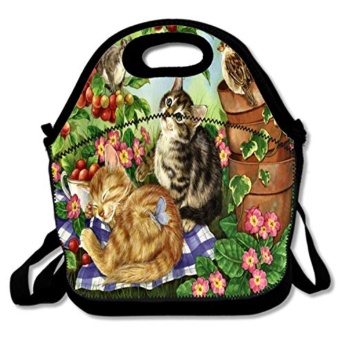 (Insulated Neoprene Lunch Bag Thermal Carrying Gourmet Lunch Box Containers for Women Men Teen Girls Boys Kids - Cherry Tree Painting Art Artwork Pet Wide Screen Feline Songbird Squirrel)