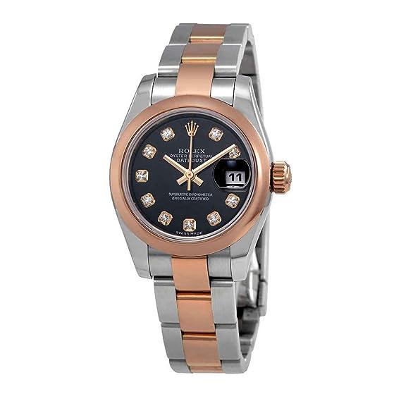 Rolex Datejust 179161BKDO - Reloj de pulsera para mujer con esfera de diamante negra de acero y oro de 18 K: Amazon.es: Relojes