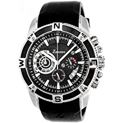 Zancan HWC012 All Black Stainless Steel w/ Rubber Strap Chronograph Men's Watch