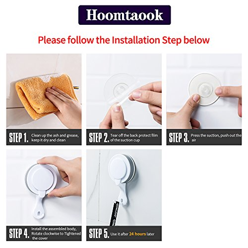 Hoomtaook Double Bathroom Shower Towel Hooks Super Power Vacuum Suction No Drill Waterproof for Kitchen (2 Pack) by Hoomtaook (Image #5)