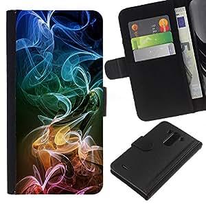 All Phone Most Case / Oferta Especial Cáscara Funda de cuero Monedero Cubierta de proteccion Caso / Wallet Case for LG G3 // Smoke Colorful Art Stripes Pattern Wallpaper