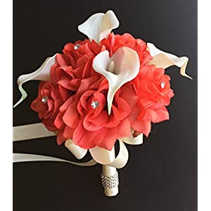 8'' Wedding Bouquet - Coral Roses with Ivory Real Touch Calla Lily - Artificial Flowers 25