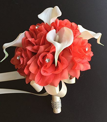 8-Wedding-Bouquet-Coral-Roses-with-Ivory-Real-Touch-Calla-Lily-Artificial-Flowers