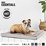 BarkBox Large Gray Ultra Plush Pressure-Relief Orthopedic Memory Foam Dog Bed or Crate/Kennel Mat | Removable Washable Cover - Free Surprise!
