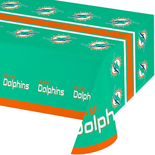 Creative Converting Officially Licensed NFL Plastic Table Cover, 54x102, Miami Dolphins