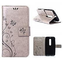 MOONCASE Moto G (3rd Gen) G3 Wallet Case Flower Pattern Premium PU Leather Case for Motorola Moto G (3rd Generation) Bookstyle Soft TPU [Shock Absorbent] Flip Bracket Cover Grey