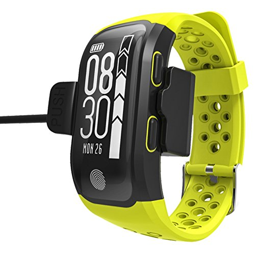 S908 Smart Bracelet GPS Bluetooth Bracelet IP68 Waterproof Wristband Various Sports Models with Heart Rate Monitor for Android and IOS Smart Phones (Yellow)