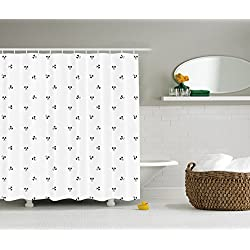 Skull Shower Curtain Halloween Black And White Art Print Backdrops Minimalistic Design Artwork Style