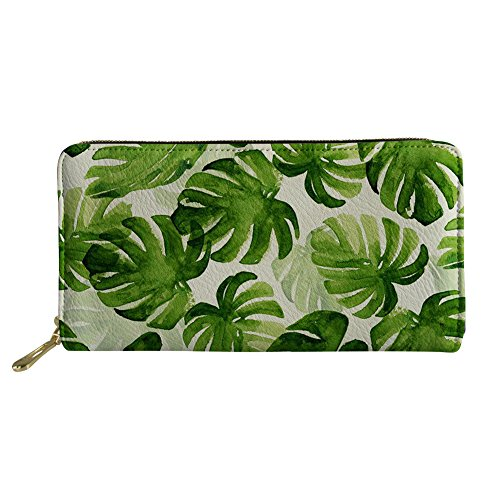 Tropical Leaves Designer Leather Wallet Zipper Around